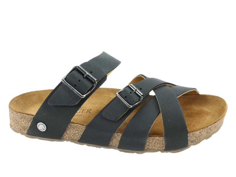 Haflinger Sandals Charles Black side view