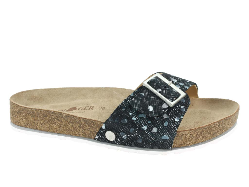 Haflinger Sandals Gina Black combi side view
