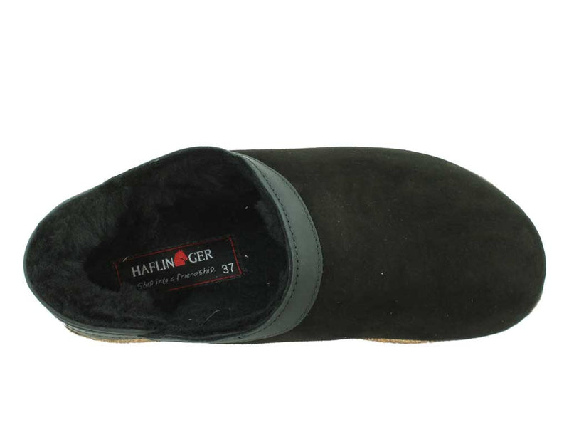 Haflinger Sheepskin Clogs Siberia Black
