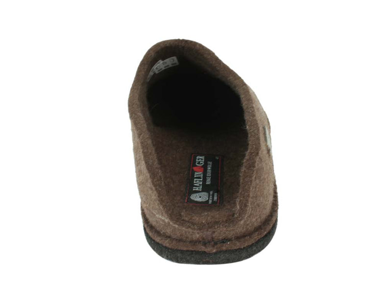 Haflinger Slippers Flair Smily in brown back view