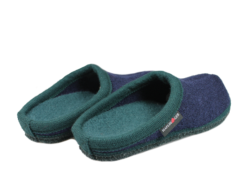 Haflinger Alaska Slippers Navy & Green pair view