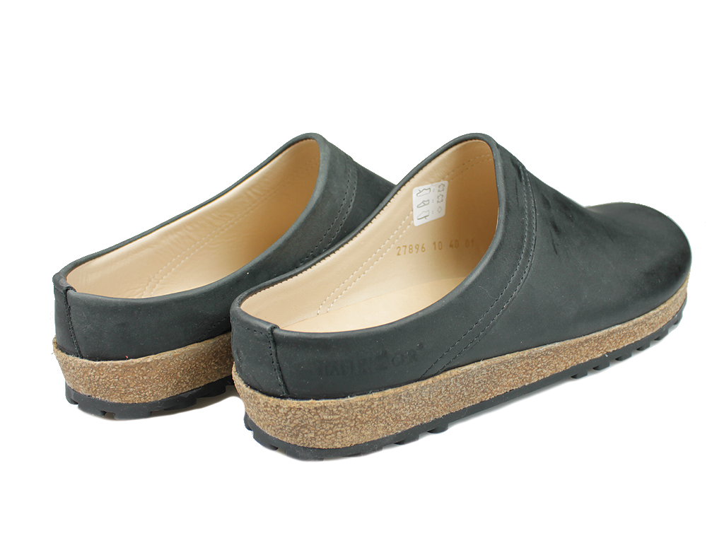 Haflinger Malmo Leather Clogs Black