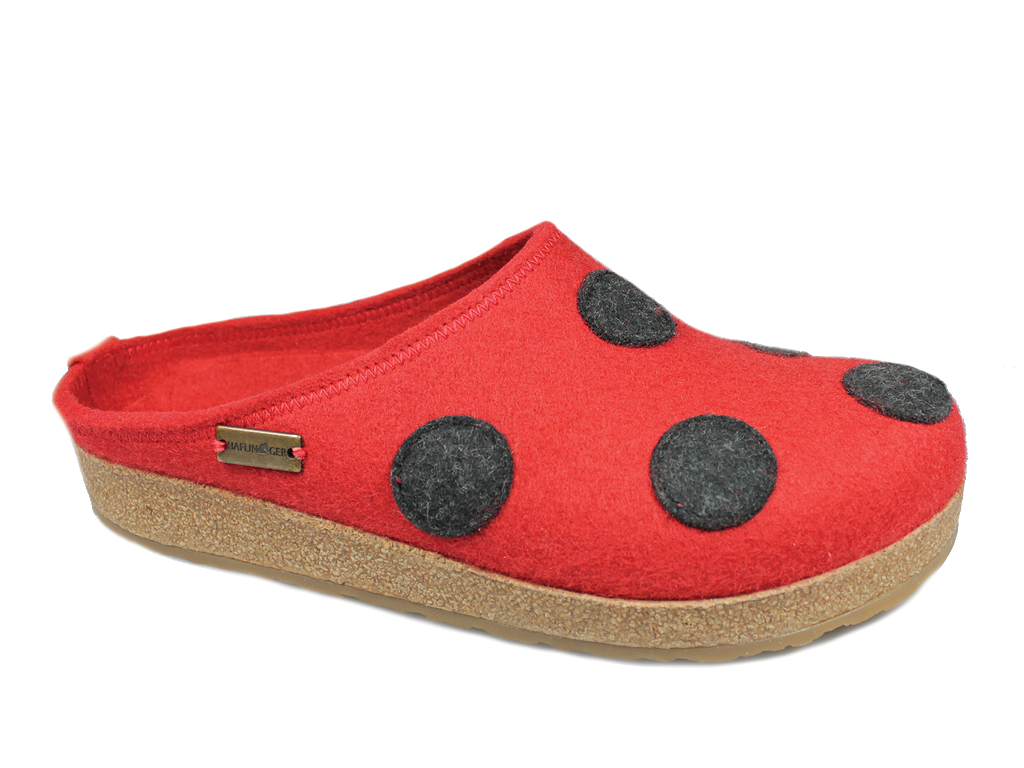 Haflinger Spot Red Felt Clogs