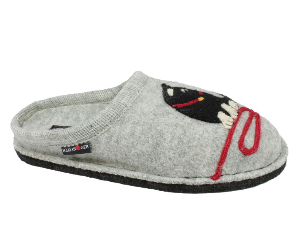 Haflinger Flair Cat Slippers Grey