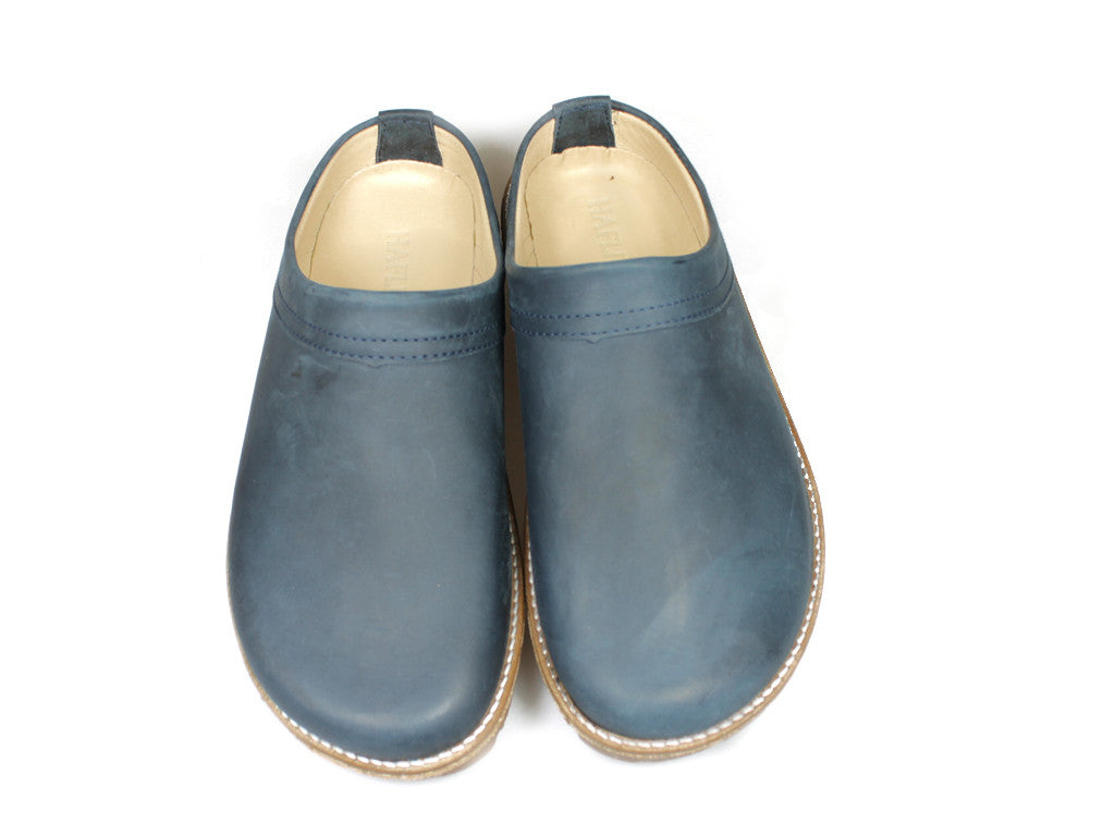Haflinger Travel Leather Clogs Navy