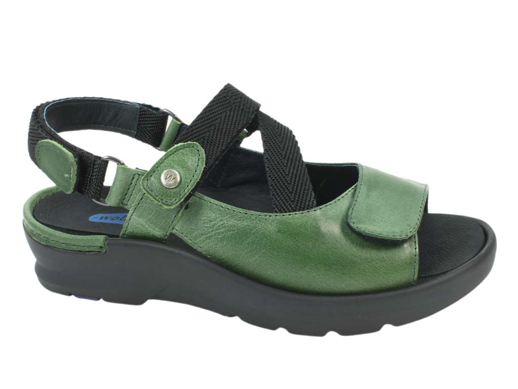 Wolky Sandals Lisse Green side view