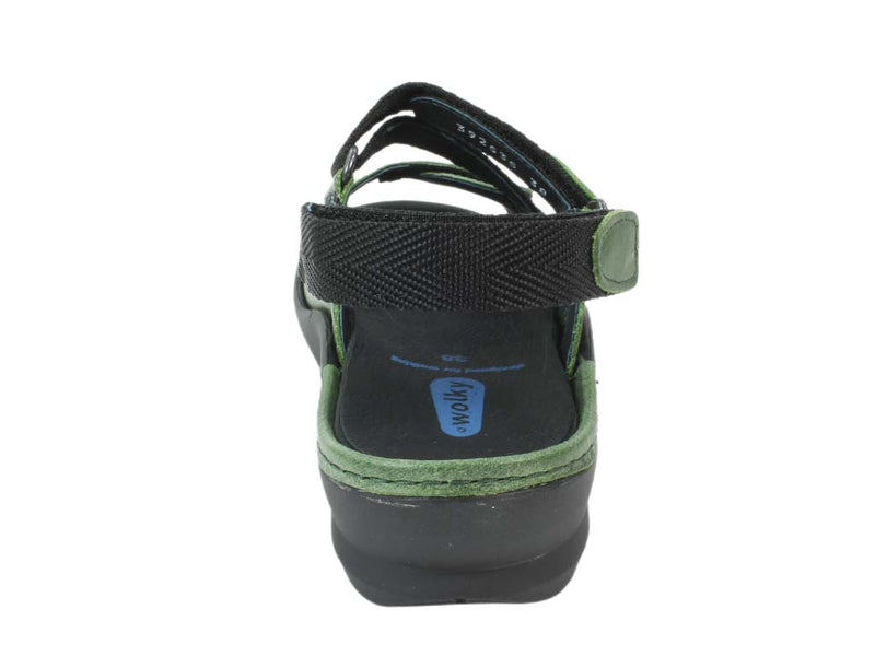 Wolky Sandals Lisse Green back view