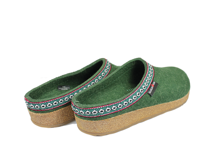 Haflinger Grizzly Classic Felt Clogs Forest Green