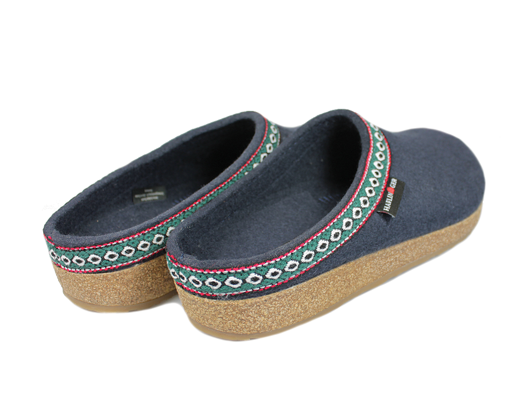 Haflinger Grizzly Franzl Felt Clogs Navy