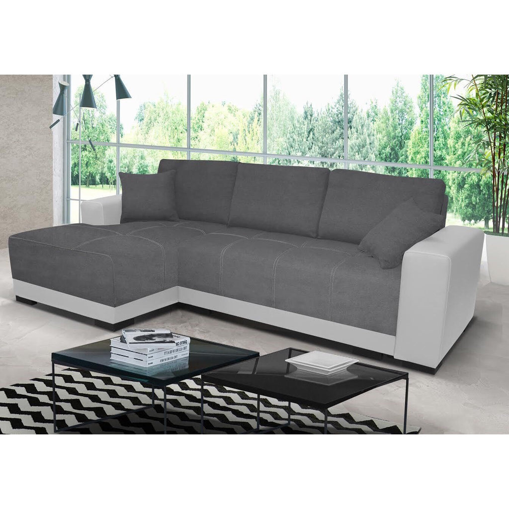 Cimiano Fabric Faux Leather Corner Sofabed With Storage Honey