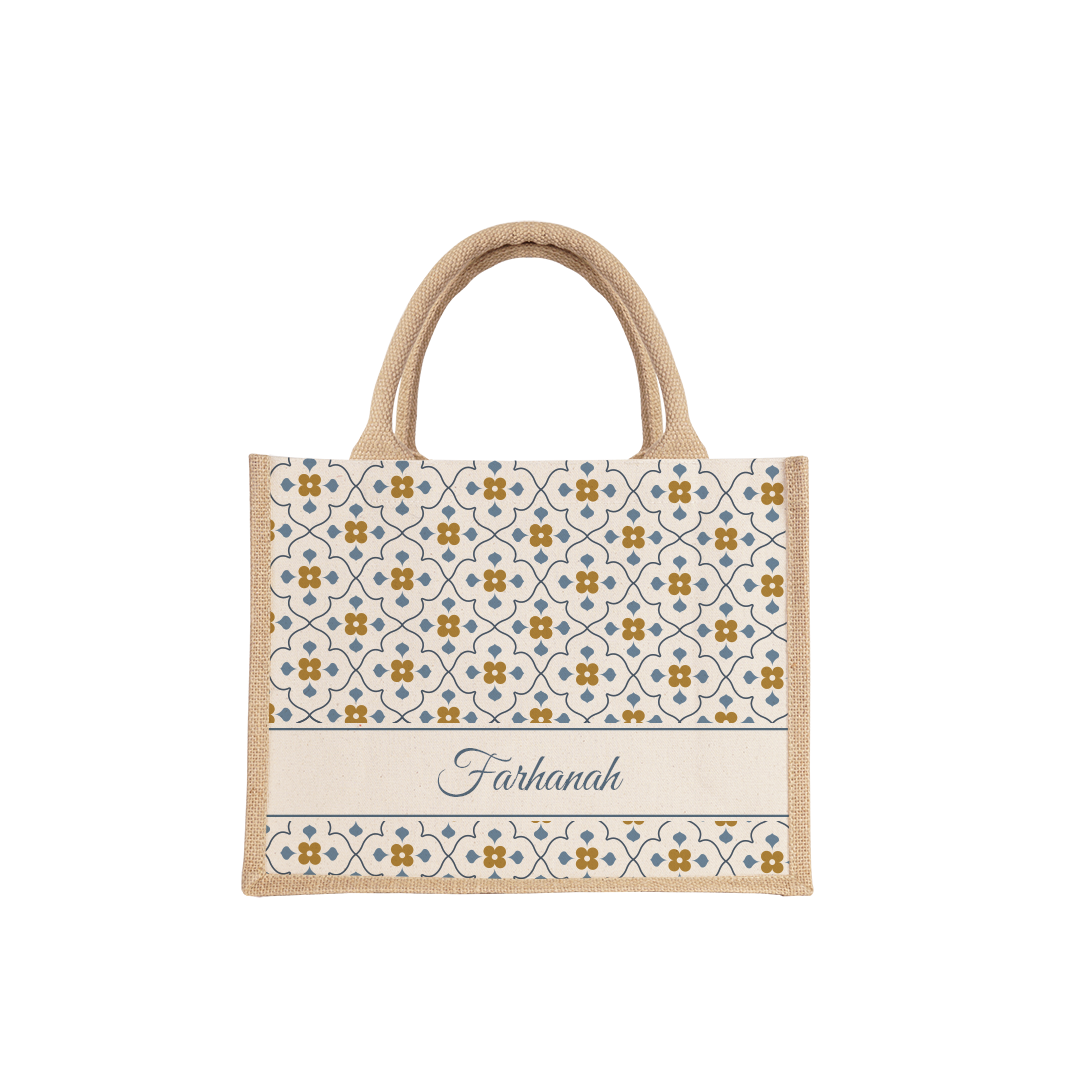 Blossom Tiles Small Jute Bag