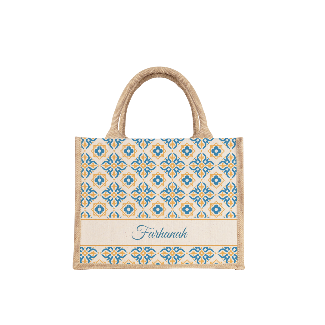 Orange & Blue Geometric Small Jute Bag