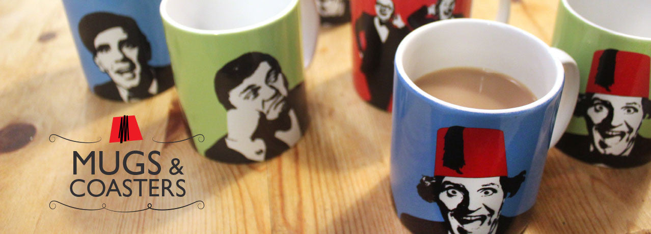 iconiComedy - a vibrant range of mugs and coasters celebrating classic British comedy icons