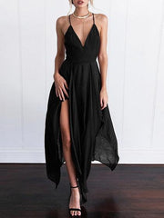 Black Chiffon Plunge Strap Back Cross Backless Chic Women Cami Dress
