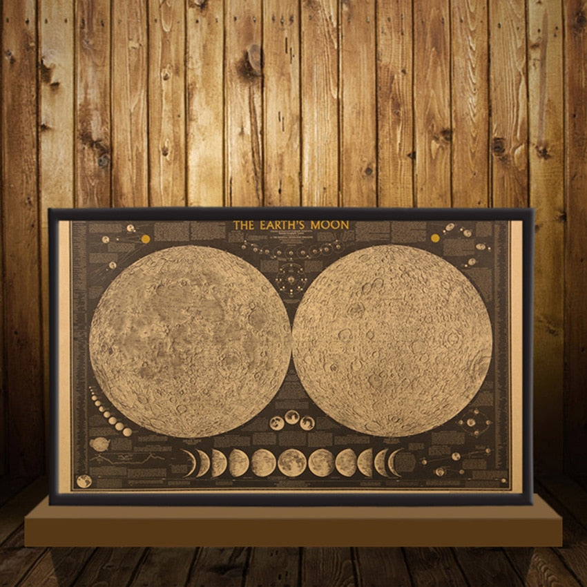 Retro Decor Moon Map