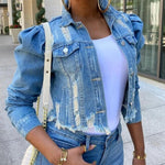 Load image into Gallery viewer, Vogue Denim Ripped Jacket