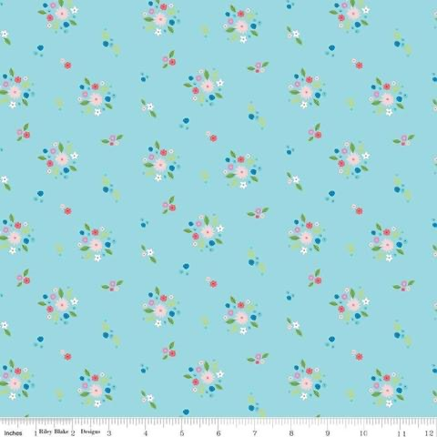 Kindred Spirits Bouquet - Aqua - 1/2 Yard
