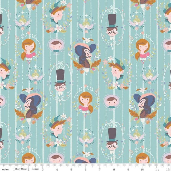 Neverland Darling Wall - Mint - 1/2 Yard