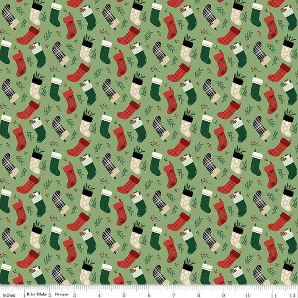 Christmas Traditions Stockings - Green - 1/2 Yard