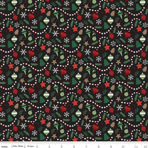 Christmas Traditions Ornaments - Black - 1/2 Yard