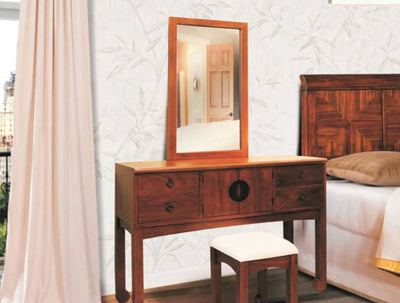 Mahogany Wood Dresser with Stool