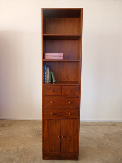 Teak Modular Cabinet with 4 Drawers and Open Doors