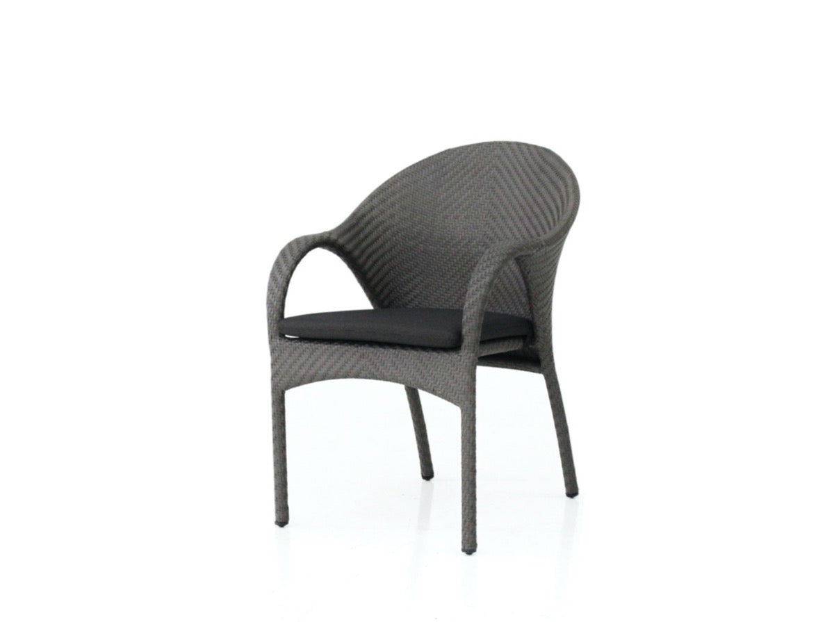 Dark grey handwoven synthetic rattan dining arm chair with cushion