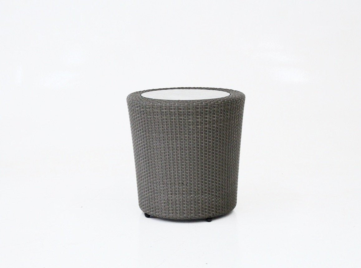 Round cylindrical handwoven synthetic rattan side table, with insert tempered glass