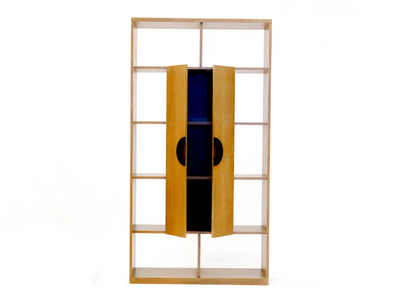 Display Divider with Wooden Doors