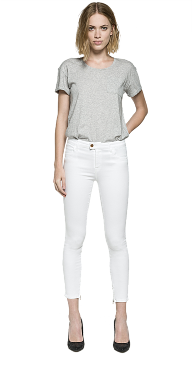 Replay Touch white cropped skinny Jeans