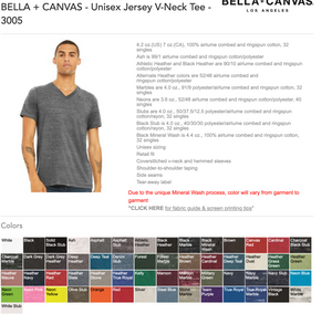 Lot - Canvas V Neck Shirts w/ Your Custom Print
