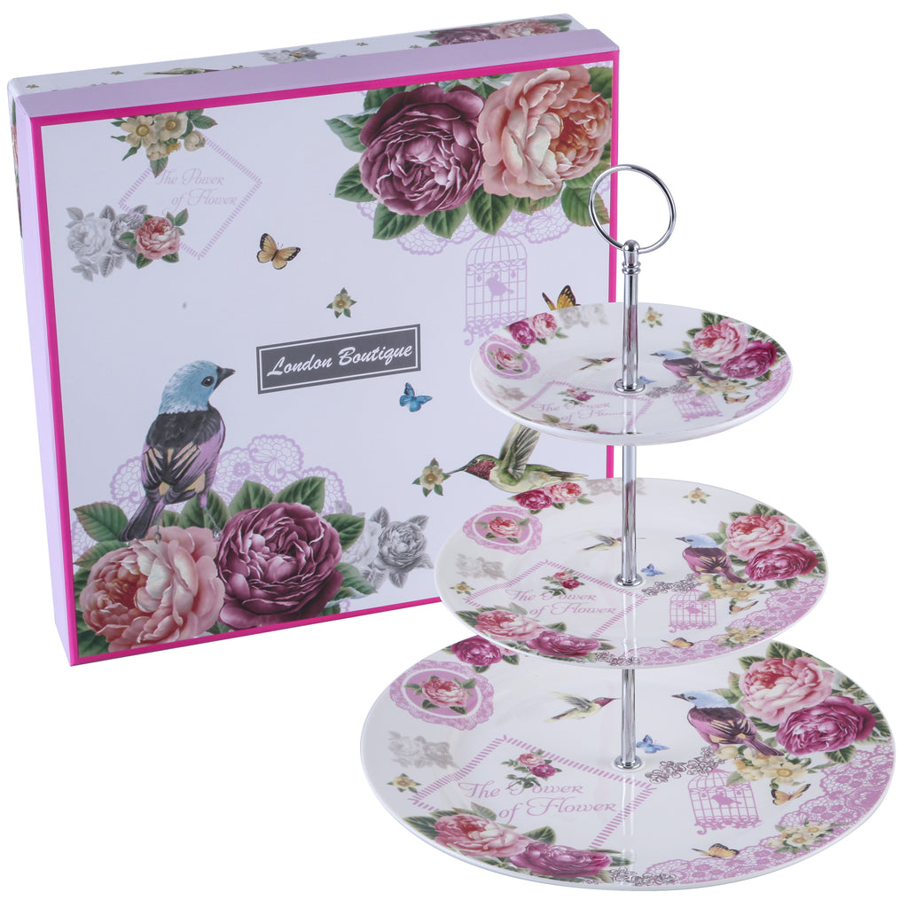 3 Tiered Cake Stands Plates Porcelain Lilac Lavender Rose Floral Design Gift Box (Birds Rose Butterfly)