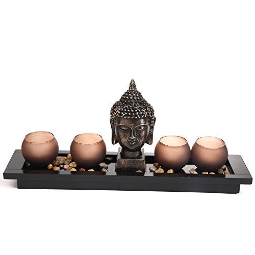 London Boutique Zen Garden Thai Buddha Head Ornament Statue Candle Holders Gift Set