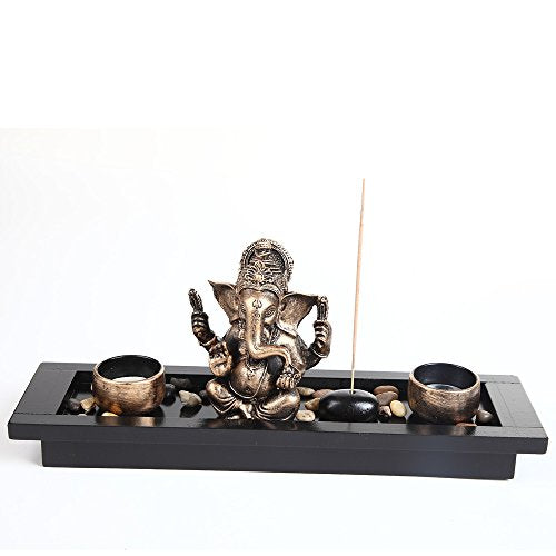 London Boutique Elephant Head Ganesha Ornament Statue Candle Holders Gift Set HY1418