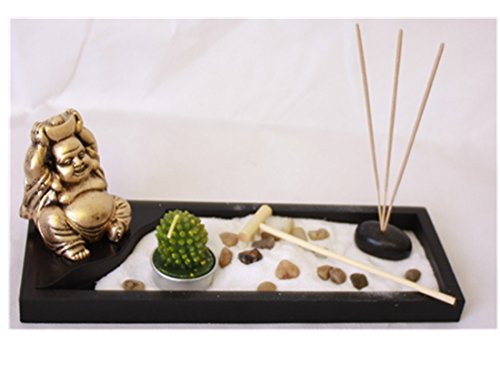 London Boutique Zen Garden laughing Buddha Ornament Statue Candle Holders Natural Stone Rattan Incense rake Gift Set (Laughing Buddha HY198)