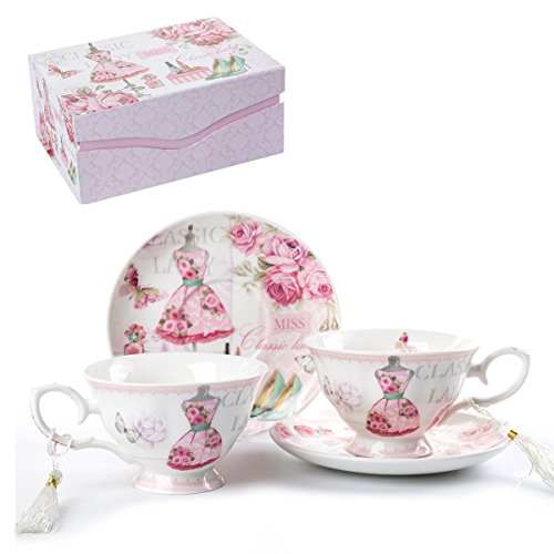 Coffee Tea Cup and Saucer Set 2 Shabby Chic Vintage Flora Porcelain Set Gift Box (Pink Classic Lady)