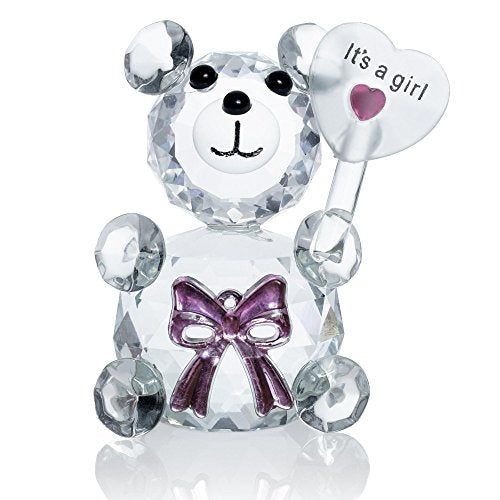 London Boutique Decorative Crystal Teddy Bear New Baby Girl Boy I love you Friendship Gift Prsent (It's a girl with Bow)