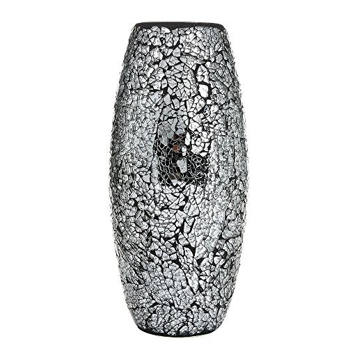 London Boutique Decorative Vase Mosaic Black Handmade Glitter Vase Sparkle Glass gift present (Black)