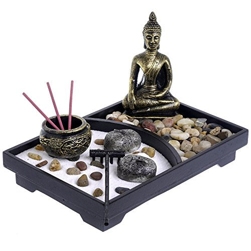 London Boutique Zen Garden Buddha Candle Holder Incense Holder white sand and decorative Stones (Thai Buddha)