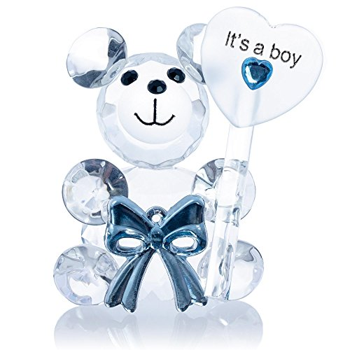 London Boutique Decorative Crystal Teddy Bear New Baby Girl Boy I love you Friendship Gift Prsent (It's a boy)