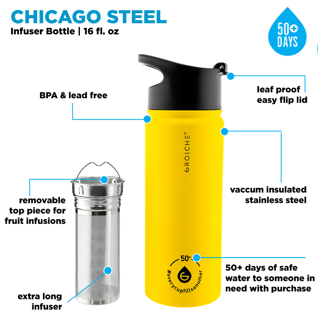 Tea Infuser Bottle: CHICAGO STEEL (Honey) 16 fl. oz - Pack of 4