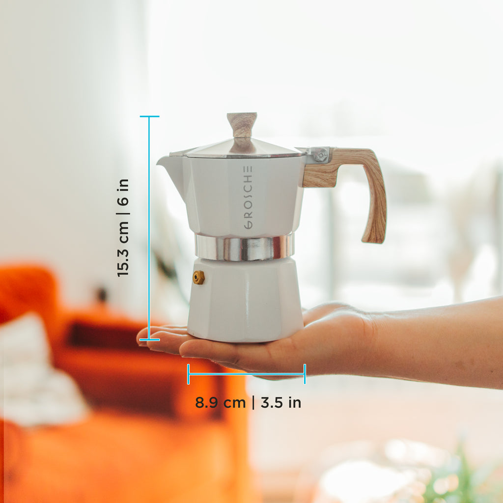 Stovetop Espresso Coffee Maker: GROSCHE Milano - White, available in 3 sizes: 3 cup, 6 cup, 9 cup, Package of 4