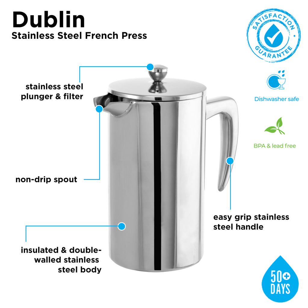 DUBLIN Stainless Steel French Press - 1000ml/34 fl. oz - Stethoscope (Custom Laser Etched) - Pack of 2