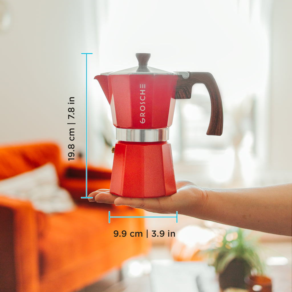 Stovetop Espresso Coffee Maker: GROSCHE Milano - Red, available in 3 sizes: 3 cup, 6 cup, 9 cup, Package of 4