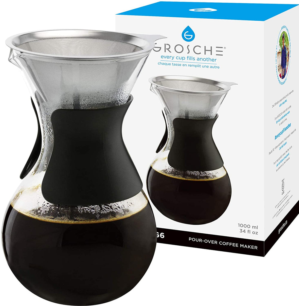 Coffee Dripper: GROSCHE Austin G6 Pour Over Coffee Maker - 1000ml/34 fl. oz - Package of 4