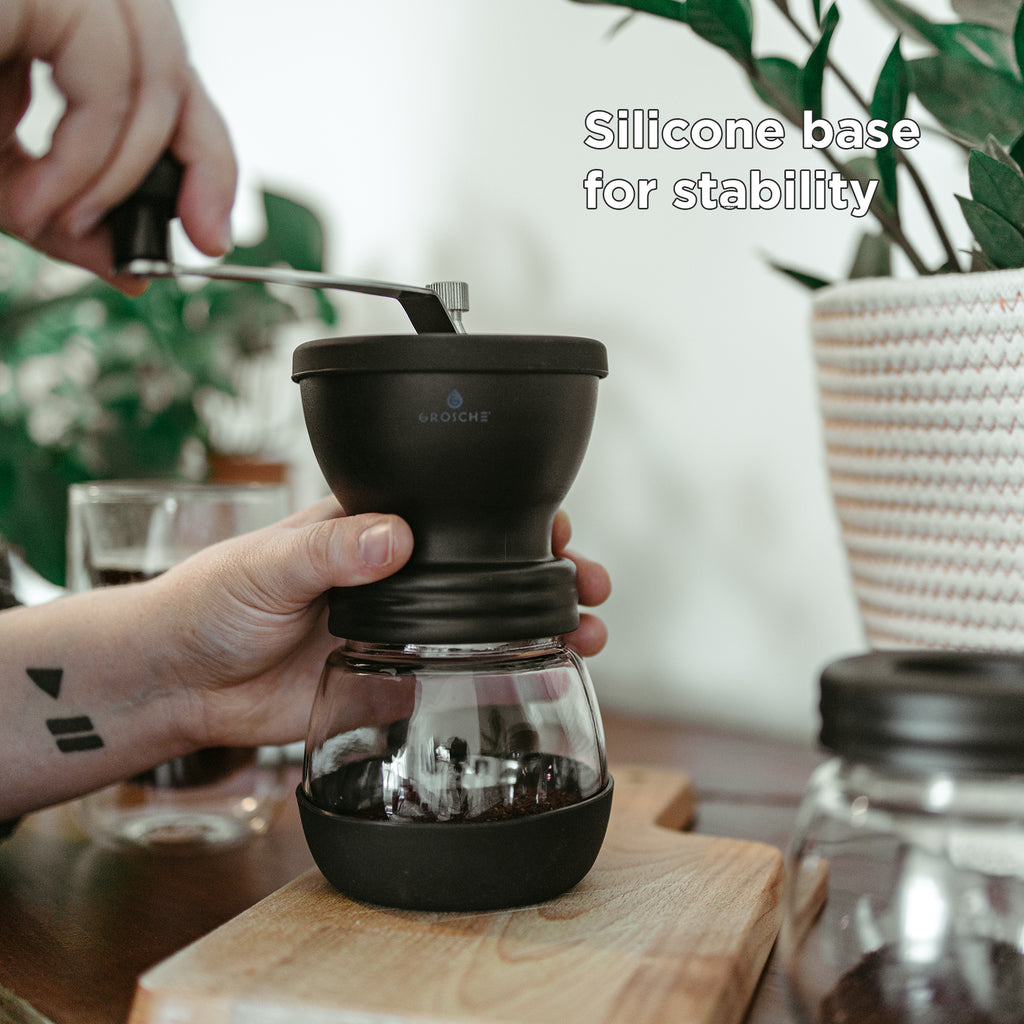Coffee Grinder: GROSCHE Bremen Manual Ceramic Burr Coffee Grinder with Extra Storage Canister- Black, 100gx2 capacity - Package of 2