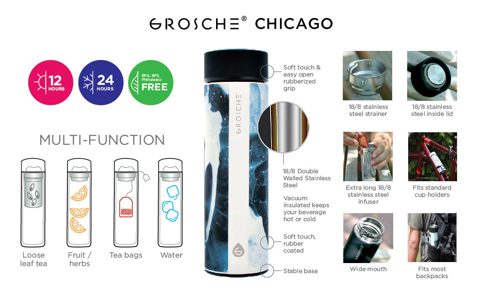 Travel Tea Infuser: Chicago- Black Marble 450 Ml/15.2 Fl. Oz - Pack Of 4 - Infuser Tea Mug