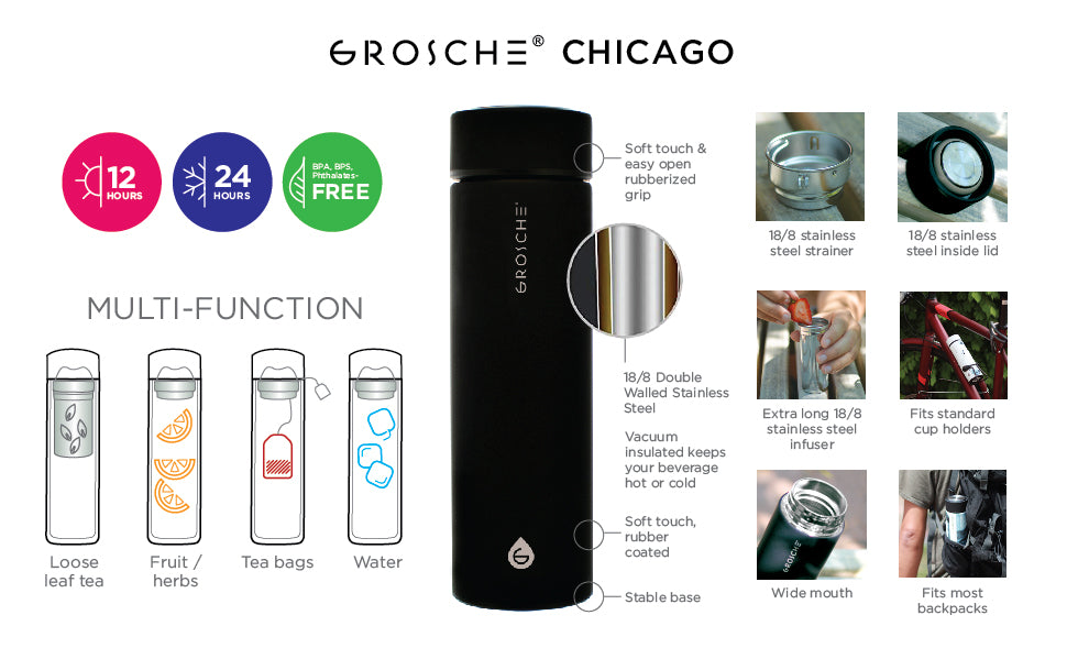 Travel Tea Infuser: Chicago- Black 450 Ml/15.2 Fl. Oz - Pack Of 4 - Infuser Tea Mug