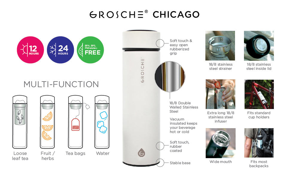 Travel Tea Infuser: Chicago- White 450 Ml/15.2 Fl. Oz - Pack Of 4 - Infuser Tea Mug