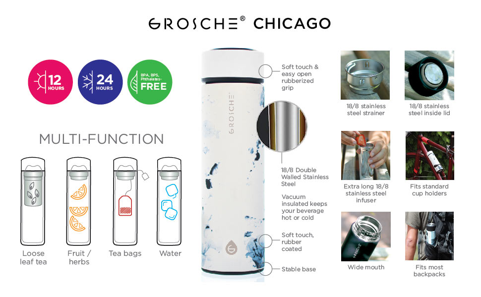 Travel Tea Infuser: Chicago- White Marble 450 Ml/15.2 Fl. Oz - Pack Of 4 - Infuser Tea Mug